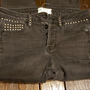 Free People Black Studded Jeans